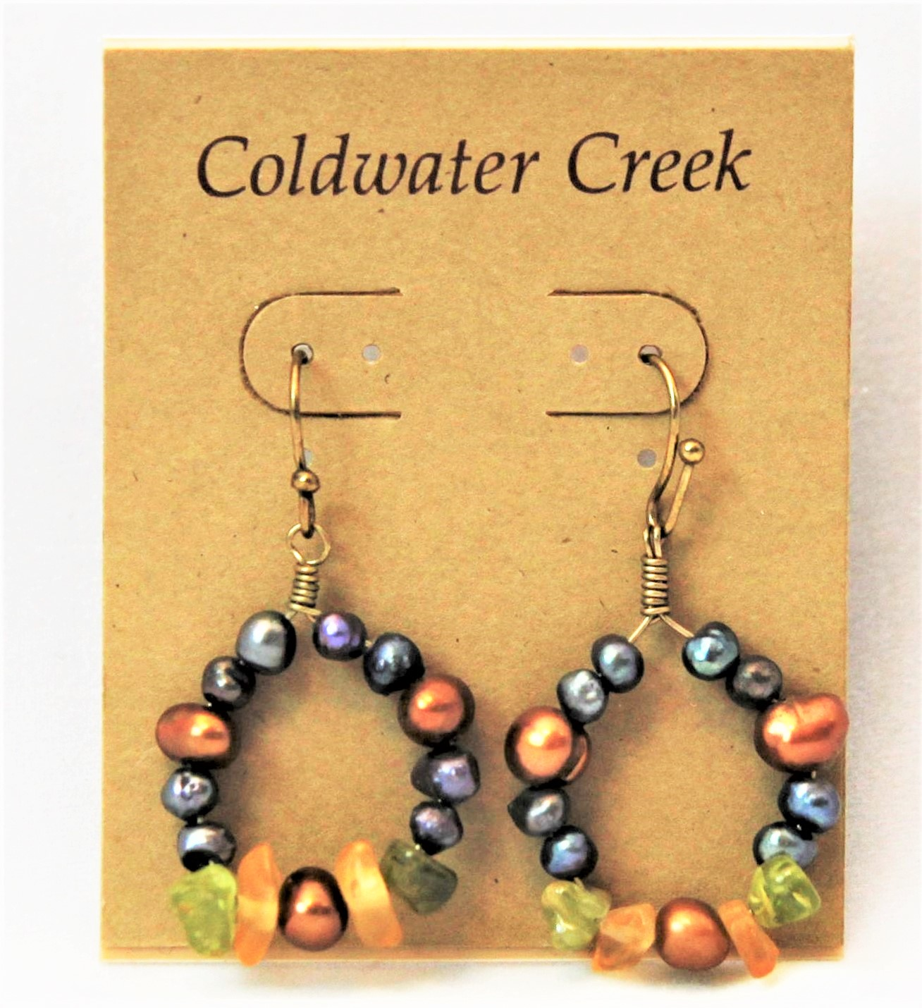 Coldwater Creek Earrings Of Plated Beads And Stones About 7 8 Across